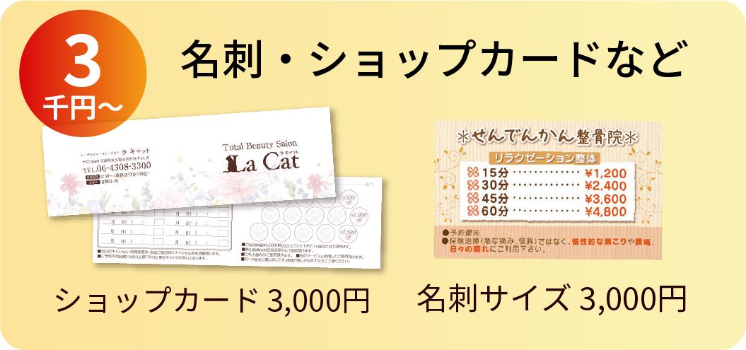 名刺・ショップカードなど 3万円〜