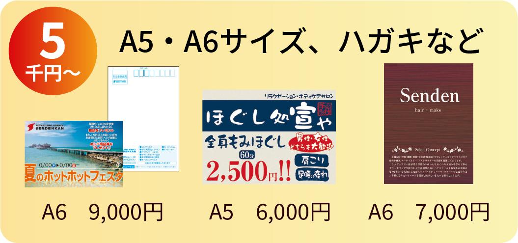 A5・A6サイズ、はがきなど 5千円〜